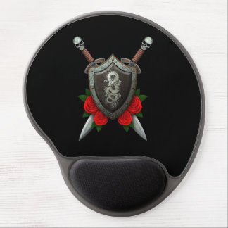Worn Chinese Dragon Shield and Swords with Roses Gel Mouse Pad
