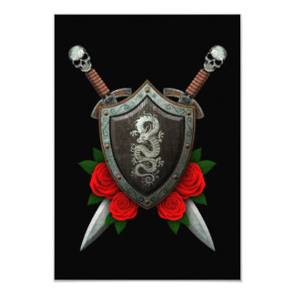 Worn Chinese Dragon Shield and Swords with Roses 3.5x5 Paper Invitation Card