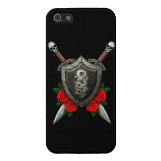 Worn Chinese Dragon Shield and Swords with Roses Cases For iPhone 5