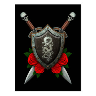 Worn Chinese Dragon Shield and Swords with Roses Postcard