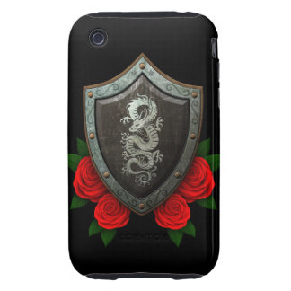 Worn Chinese Dragon Shield with Red Roses Tough iPhone 3 Cover