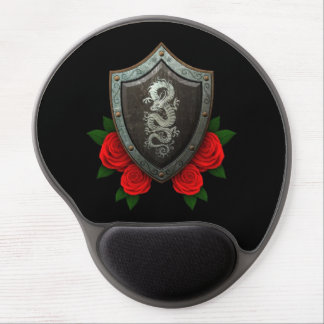 Worn Chinese Dragon Shield with Red Roses Gel Mouse Pad