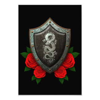 Worn Chinese Dragon Shield with Red Roses 3.5x5 Paper Invitation Card