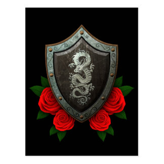 Worn Chinese Dragon Shield with Red Roses Postcard