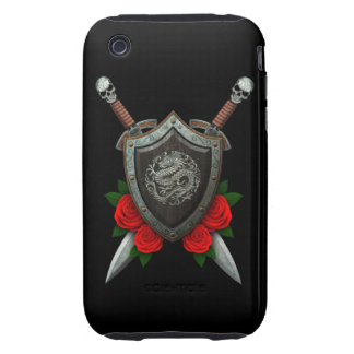 Worn Circular Chinese Dragon Shield and Swords iPhone 3 Tough Cover