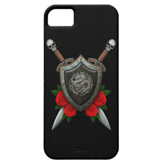 Worn Circular Chinese Dragon Shield and Swords iPhone 5 Case