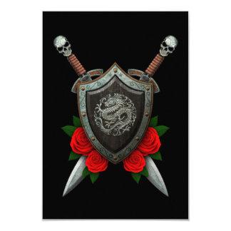 Worn Circular Chinese Dragon Shield and Swords 3.5x5 Paper Invitation Card