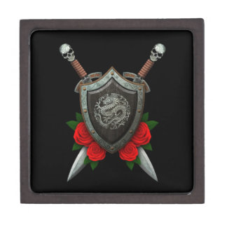 Worn Circular Chinese Dragon Shield and Swords Premium Jewelry Box