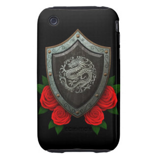 Worn Circular Chinese Dragon Shield with Red Roses iPhone 3 Tough Case