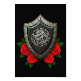 Worn Circular Chinese Dragon Shield with Red Roses 3.5x5 Paper Invitation Card