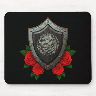 Worn Circular Chinese Dragon Shield with Red Roses Mouse Pad