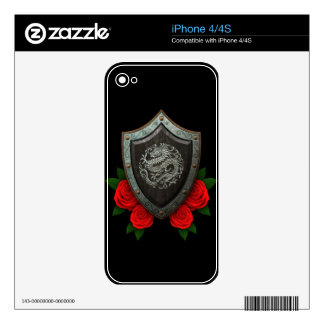 Worn Circular Chinese Dragon Shield with Red Roses Skins For iPhone 4