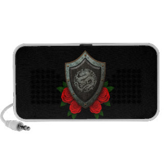 Worn Circular Chinese Dragon Shield with Red Roses iPod Speaker