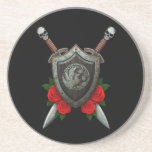 Worn Circular Phoenx Shield and Swords with Roses Coaster