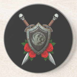 Worn Circular Phoenx Shield and Swords with Roses Sandstone Coaster