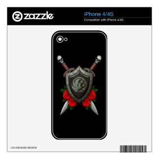 Worn Circular Phoenx Shield and Swords with Roses Skin For The iPhone 4