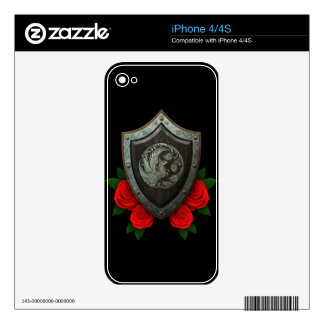 Worn Circular Phoenx Shield with Red Roses Skin For iPhone 4S