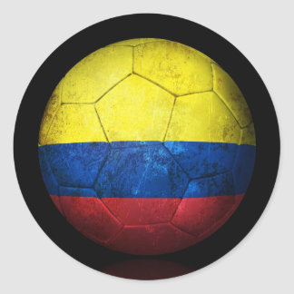 Worn Colombian Flag Football Soccer Ball Classic Round Sticker