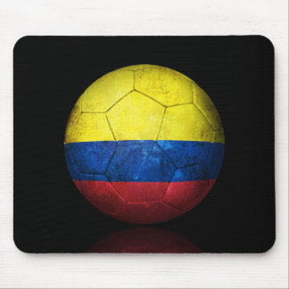 Worn Colombian Flag Football Soccer Ball Mouse Pad