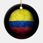 Worn Colombian Flag Football Soccer Ball Christmas Tree Ornaments
