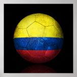 Worn Colombian Flag Football Soccer Ball Poster