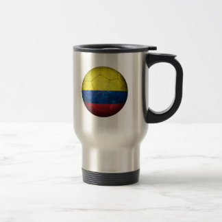 Worn Colombian Flag Football Soccer Ball Travel Mug