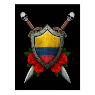 Worn Colombian Flag Shield and Swords with Roses Postcard