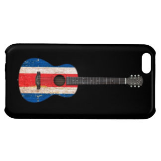 Worn Costa Rica Flag Acoustic Guitar, black iPhone 5C Cases