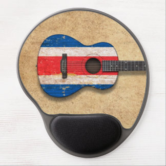 Worn Costa Rica Flag Acoustic Guitar Gel Mouse Pad