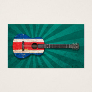 Worn Costa Rica Flag Acoustic Guitar, teal Business Card