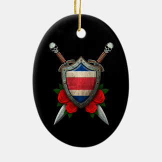 Worn Costa Rica Flag Shield and Swords with Roses Christmas Tree Ornament