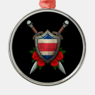 Worn Costa Rica Flag Shield and Swords with Roses Christmas Ornaments