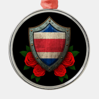 Worn Costa Rica Flag Shield with Red Roses Ornament