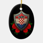 Worn Croatian Flag Shield with Red Roses Christmas Tree Ornament