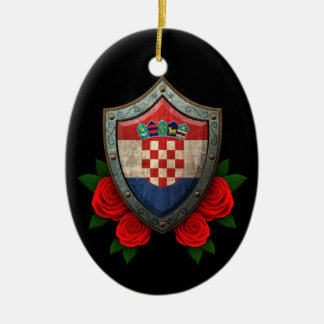 Worn Croatian Flag Shield with Red Roses Double-Sided Oval Ceramic Christmas Ornament