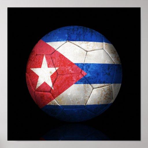 Worn Cuban Flag Football Soccer Ball Poster