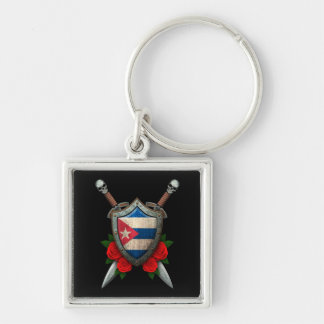 Worn Cuban Flag Shield and Swords with Roses Key Chains