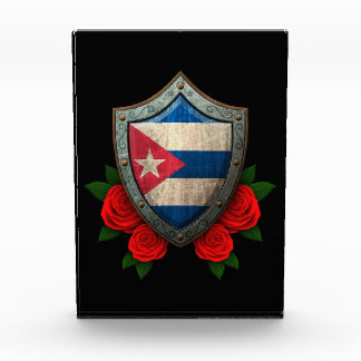Worn Cuban Flag Shield with Red Roses Awards