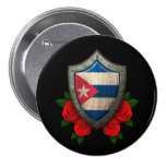 Worn Cuban Flag Shield with Red Roses Buttons