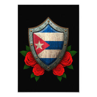 Worn Cuban Flag Shield with Red Roses Personalized Announcements