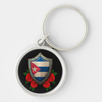Worn Cuban Flag Shield with Red Roses Key Chains