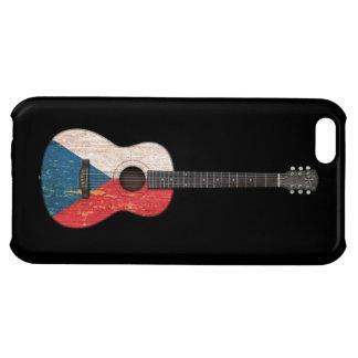 Worn Czech Republic Flag Acoustic Guitar, black iPhone 5C Case