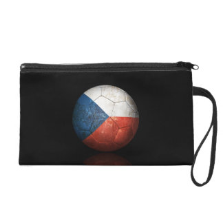 Worn Czech Republic Flag Football Soccer Ball Wristlet Purses
