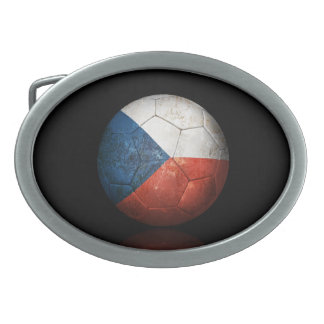 Worn Czech Republic Flag Football Soccer Ball Belt Buckles