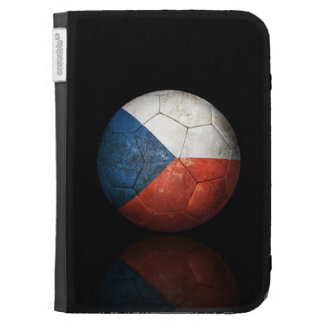Worn Czech Republic Flag Football Soccer Ball Kindle Folio Case
