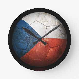 Worn Czech Republic Flag Football Soccer Ball Wall Clocks