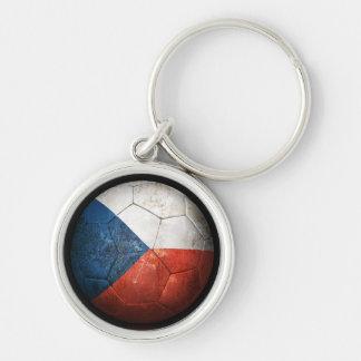 Worn Czech Republic Flag Football Soccer Ball Keychains