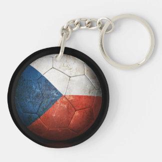 Worn Czech Republic Flag Football Soccer Ball Acrylic Key Chain