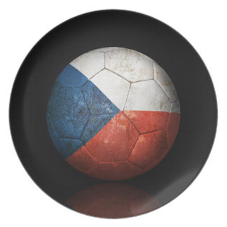Worn Czech Republic Flag Football Soccer Ball Dinner Plate