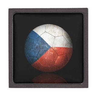 Worn Czech Republic Flag Football Soccer Ball Premium Gift Box